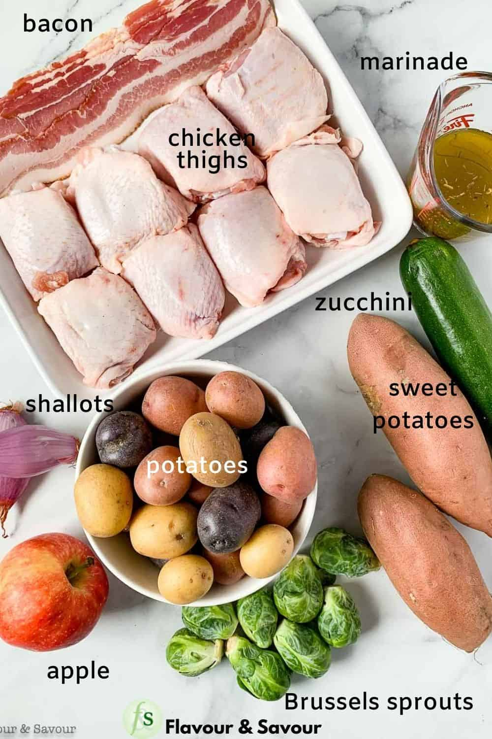ingredients for sheet pan chicken and roasted harvest vegetables