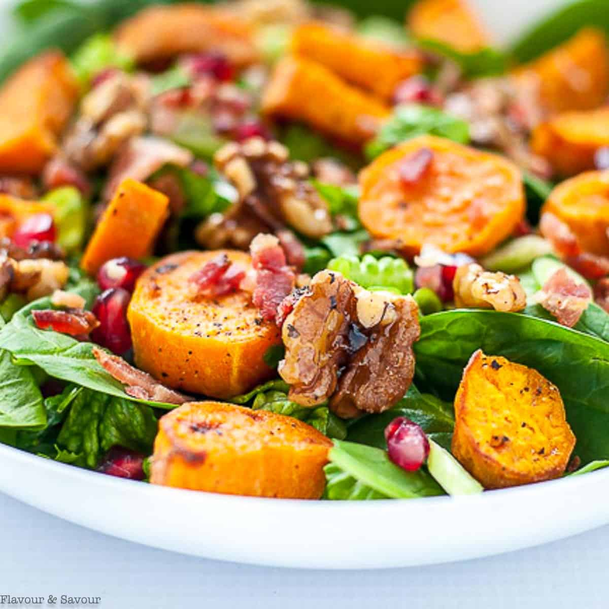 close up view of spinach salad with roasted sweet potatoes, maple walnuts, bacon and pomegranates.
