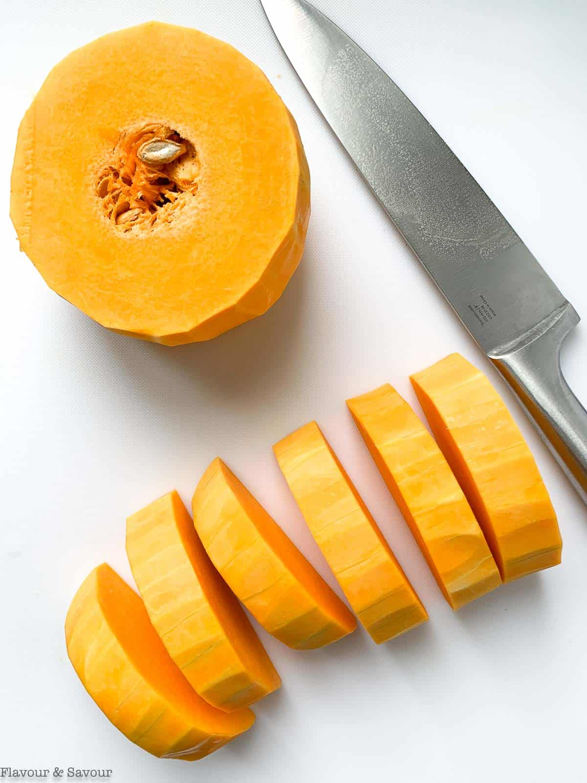 butternut squash sliced into rounds and half moons