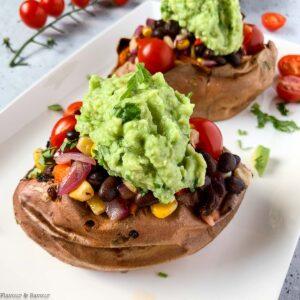 vegan black bean stuffed sweet potatoes