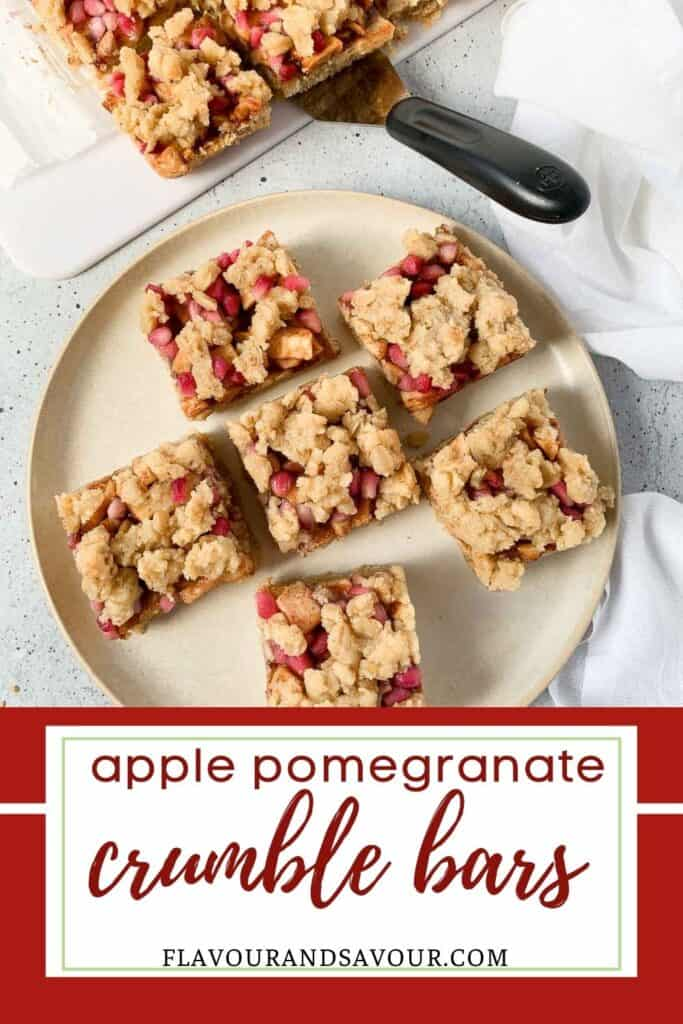 image with text overlay for apple pomegranate crumble bars