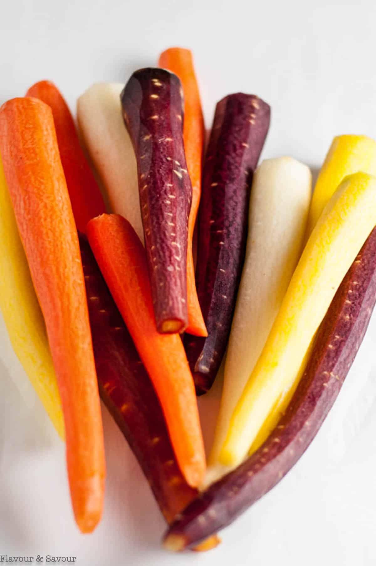raw rainbow carrots