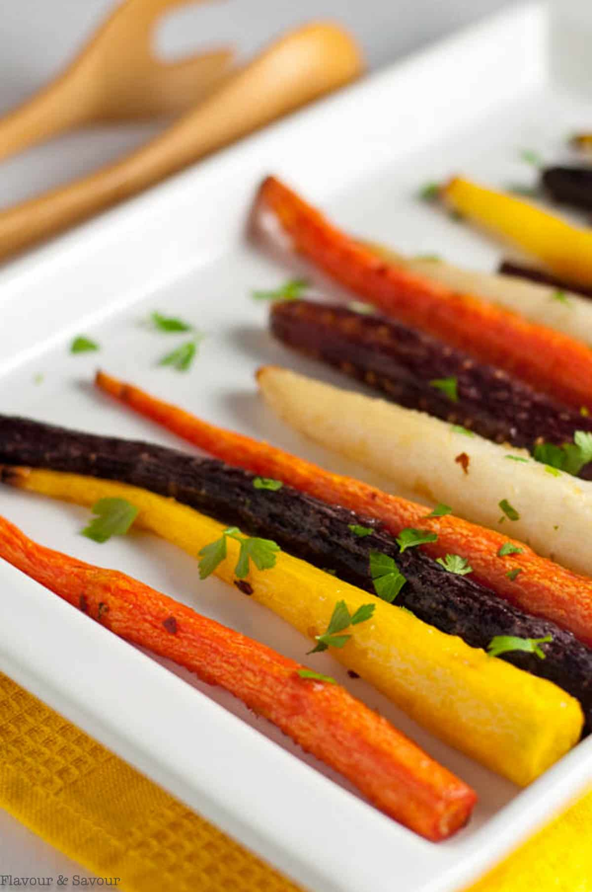 Roasted carrots sprinkled with parsley